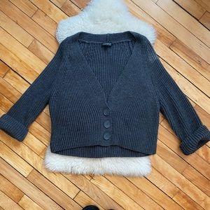 TopShop Dark Gray Chunky Knit Oversized Cardigan
